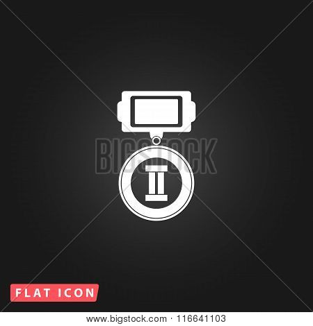 Flat icon of medal  2  places