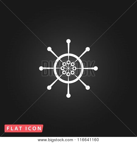 Yacht wheel symbol. Helm silhouette.