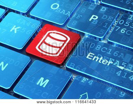 Software concept: Database on computer keyboard background