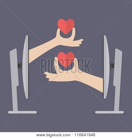 Couple Hands Holding Hearts From Two Computers