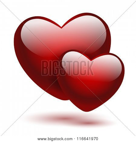 Red hearts on a white background. Vector illustration.