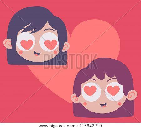 Couple Heads Inside Heart