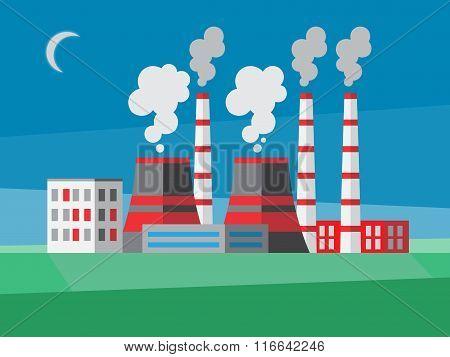 Power plant. Flat style illustration