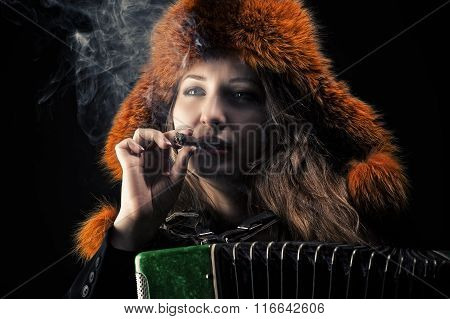woman in fur hat with accordion in cigarette smoke