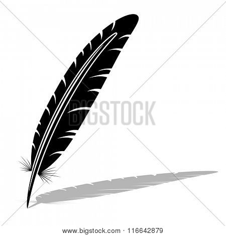Black and white feather vector silhouette.