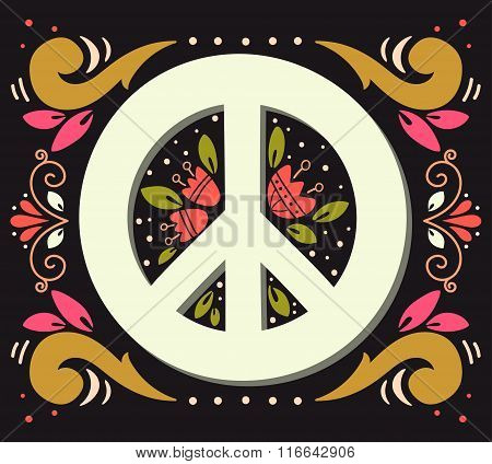 Peace Symbol With Flowers And Decoration Elements. Pacifism Sign.