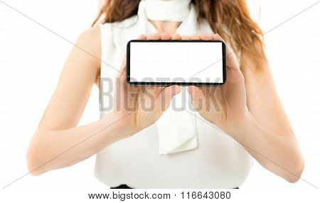Woman Showing Smart Phone With Copy Space