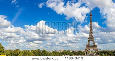 Panoramic View Of Eiffel Tower In Paris
