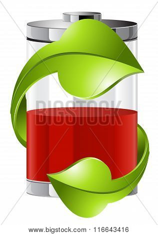 batteries with green recycling symbol