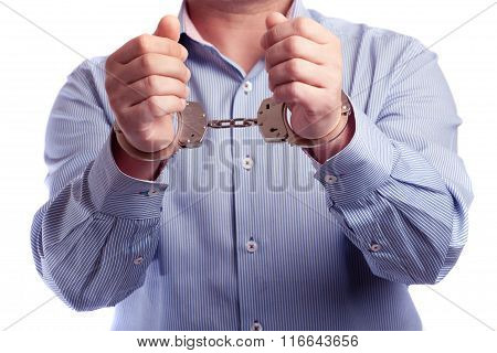 Close Up Of A Man In Handcuffs Arrested