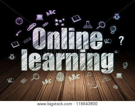 Learning concept: Online Learning in grunge dark room