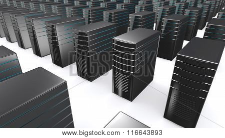 3D Of Network Workstation Servers.