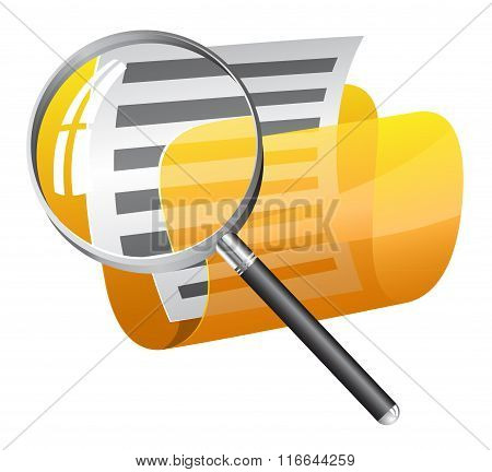 Yellow file folder with magnifying glass