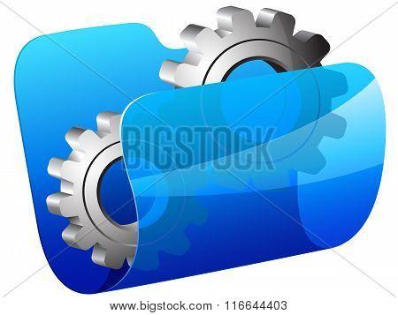 Blue folder with setting symbol