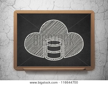 Cloud computing concept: Database With Cloud on chalkboard background