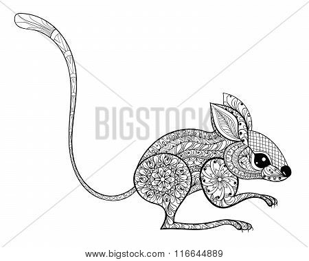 Hand drawn zentangled mouse totem for antistress Coloring Page w