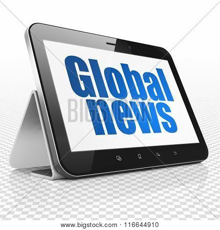 News concept: Tablet Computer with Global News on display