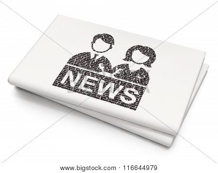 News concept: Anchorman on Blank Newspaper background