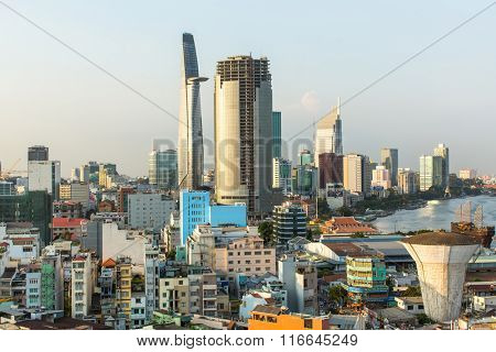 SAIGON, VIETNAM - JAN 15, 2016: Top view of Ho Chi Minh City. Ho Chi Minh, former Saigon, is located in the South of Vietnam, is the country's largest city, population 8 million.
