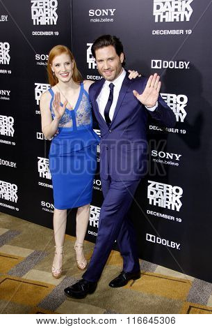 LOS ANGELES, CALIFORNIA - December 10, 2012. Jessica Chastain and Edgar Ramirez at the Los Angeles premiere of 'Zero Dark Thirty' held at the Dolby Theatre in Los Angeles.