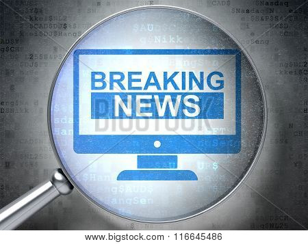 News concept: Breaking News On Screen with optical glass on digital background