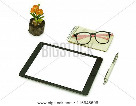 Black Tablet ,pencil , .glasses And Note Book  For Template Isolated