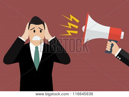 Hand Hold Megaphone Screaming To Businessman