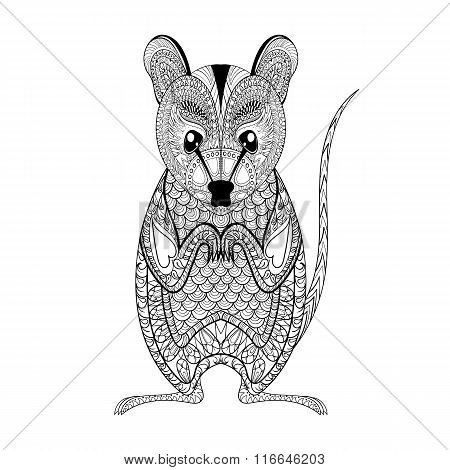 Zentangle Possum totem for adult anti stress Coloring Page for a