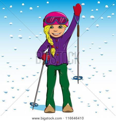 Woman winter skiing