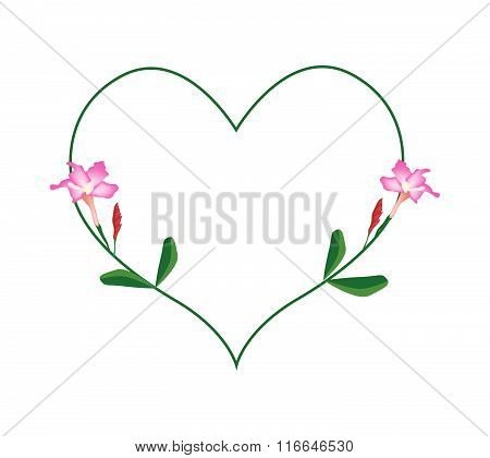 Pink Desert Rose Flowers In A Heart Shape