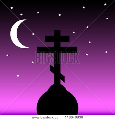 The Orthodox Cross At Night.