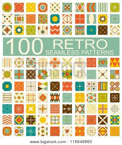 Set of 100 retro vector geometric seamless patterns (tiling) of blue, red, ivory, pink and green color. Endless texture can be used for pattern fills, web page background, surface and textile textures