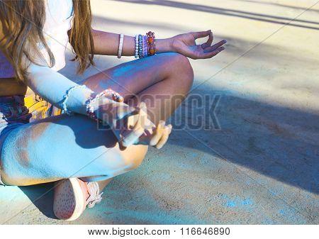 Woman Training Yoga And Meditation
