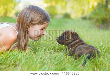 Cute Little Girl And Dog Puppy