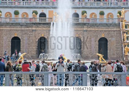 Peterhof. Russia. People near The Grand Cascade