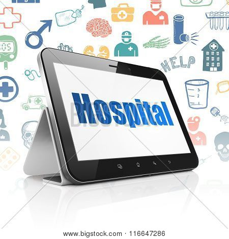 Medicine concept: Tablet Computer with Hospital on display