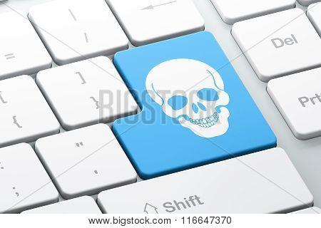 Medicine concept: Skull on computer keyboard background