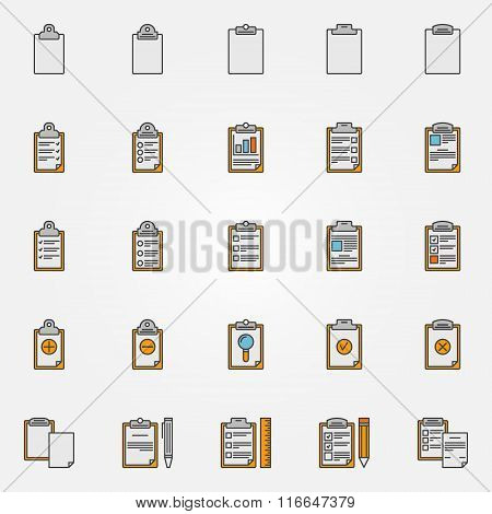 Clipboard colorful icons