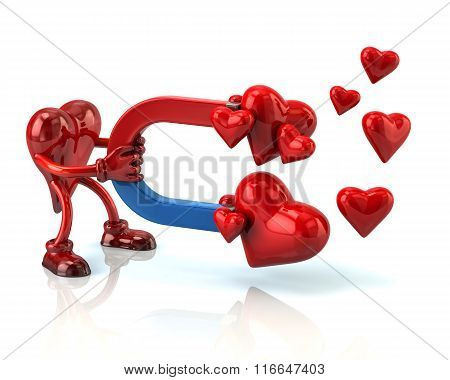 Heart Character Attracts Hearts With A Large Magnet