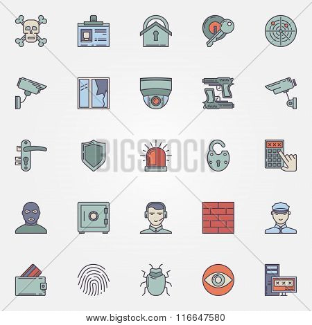 Colorful security icons