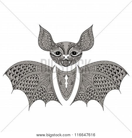 Zentangle black Bat totem for adult anti stress Coloring Page fo