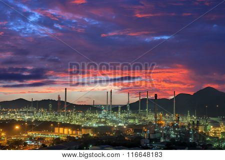 Twilight Of Oil Refinery Plant.