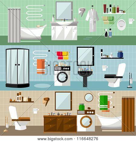 Bathroom interior with furniture. Vector illustration in flat style. Design elements, bathtub, washi