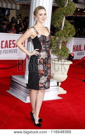 Natasha Bassett at the World premiere of 'Hail, Caesar!' held at the Regency Village Theatre in Westwood, USA on February 1, 2016.