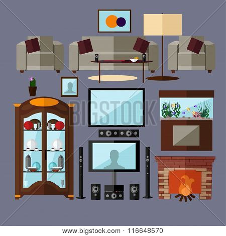 Living room interior with furniture. Concept vector illustration in flat style. Home related isolate
