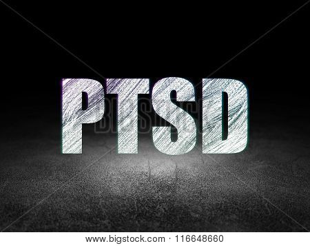 Healthcare concept: PTSD in grunge dark room