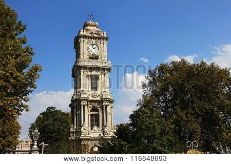 Clock tower in dolmabahce palace