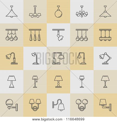 Lamp line icons vector set