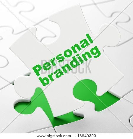 Marketing concept: Personal Branding on puzzle background