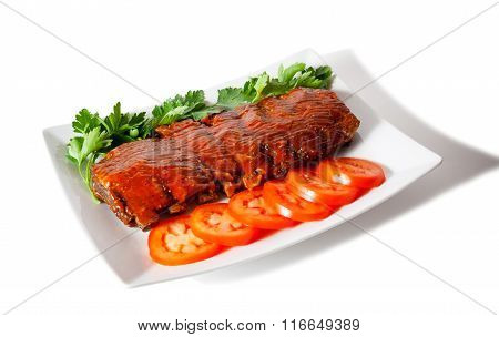 Plate With Roasted Pork Ribs Isolated